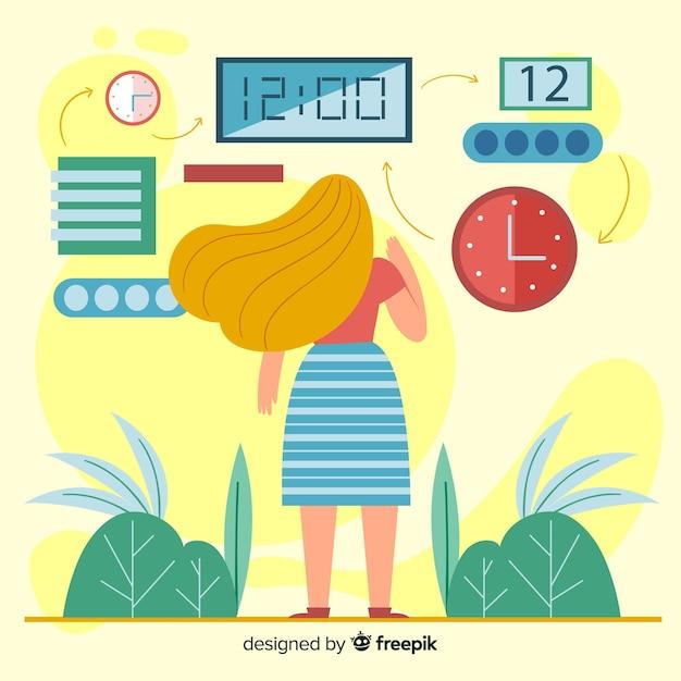 Иллюстрация концепции управления временем Бесплатные векторы