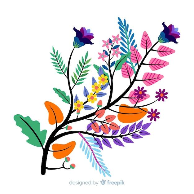 カラフルな花の花と枝のコンポジション 無料ベクター