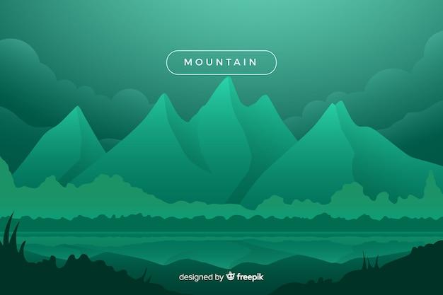 Зеленые затененные горы пейзаж Бесплатные векторы