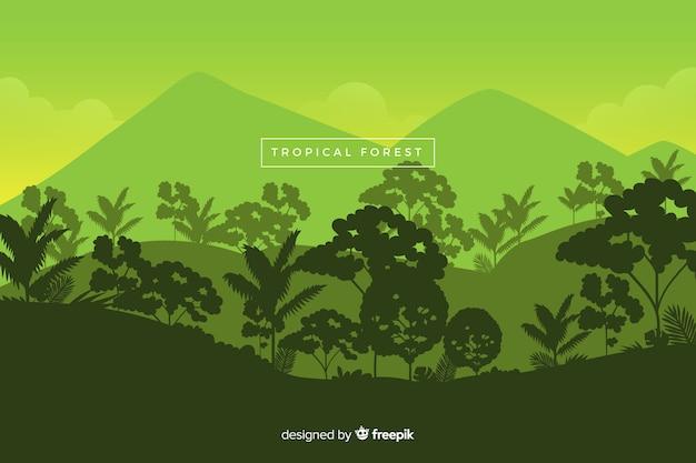 Панорамный вид на красивый тропический лес в зеленых тонах Бесплатные векторы