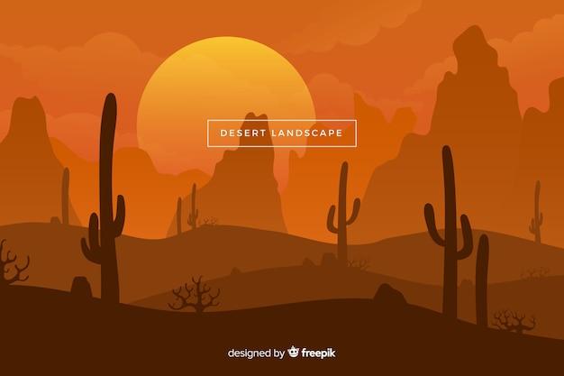 Пустынный пейзаж с солнцем и кактусами Бесплатные векторы