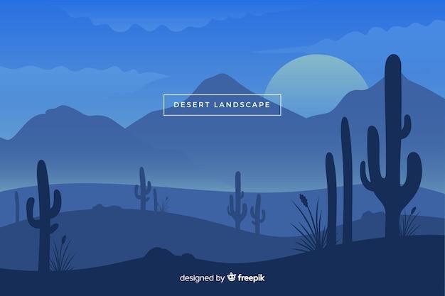 夜の砂漠の風景 無料ベクター