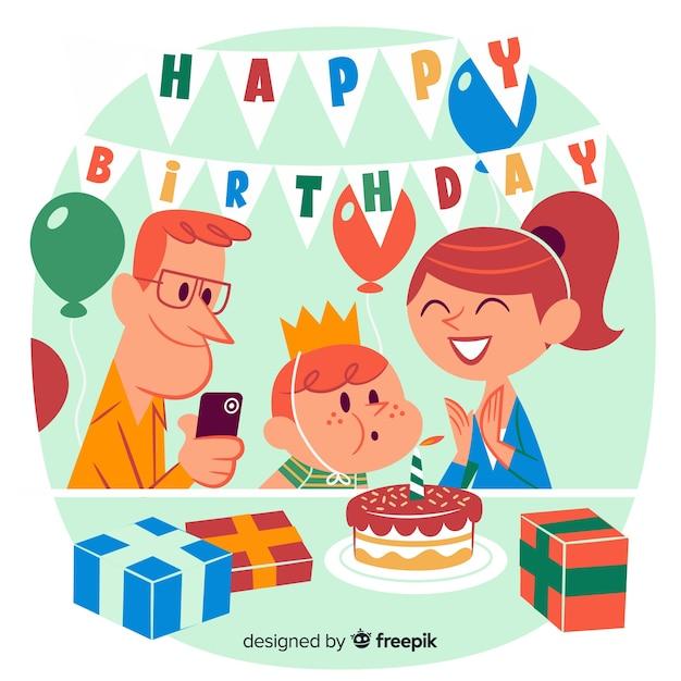 両親と子供とお誕生日おめでとうイラスト 無料ベクター