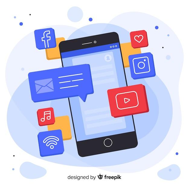 Антигравитационный изометрический мобильный телефон с сообщениями и уведомлениями Бесплатные векторы