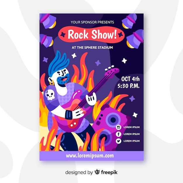 ロックショーの手描きポスター 無料ベクター