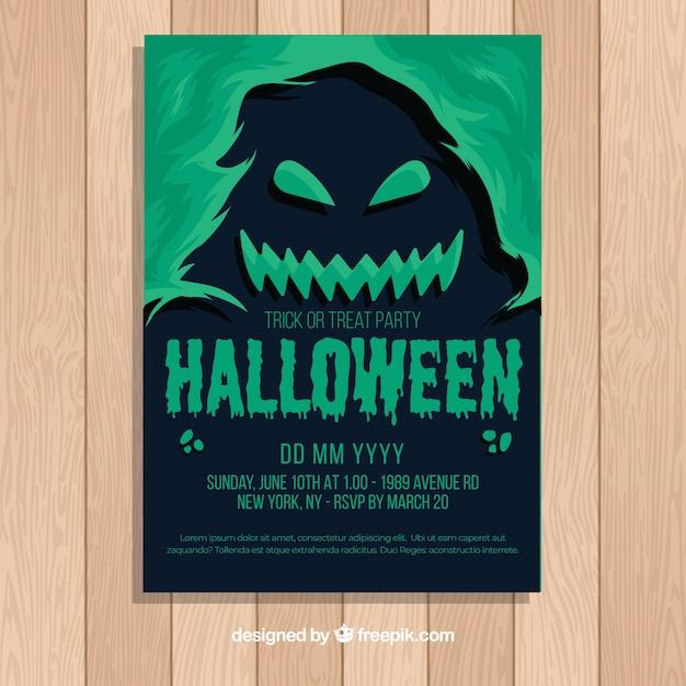 Хэллоуин плакат шаблон с плоским дизайном Бесплатные векторы