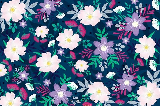 白と紫の花の背景のかわいいデザイン 無料ベクター