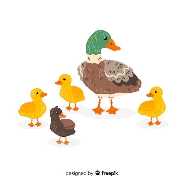 平らな母鴨とアヒルの子手描き 無料ベクター