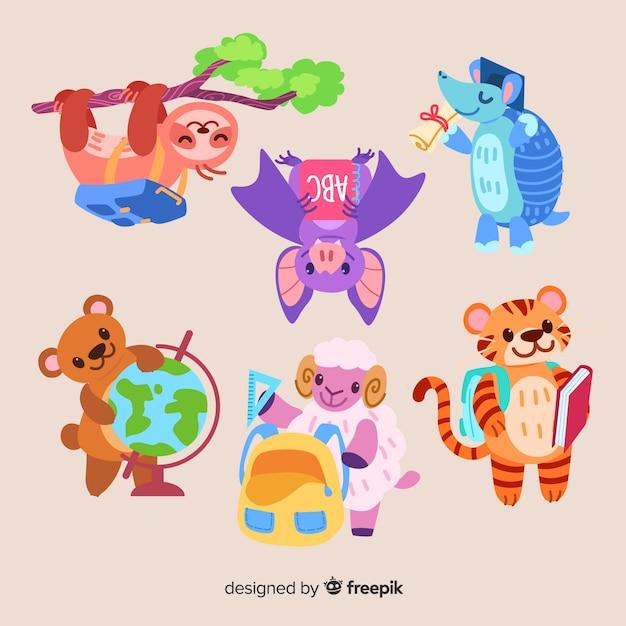 Коллекция животных для школьного мероприятия Бесплатные векторы