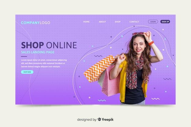 Продажа шаблона целевой страницы с фотографией Бесплатные векторы