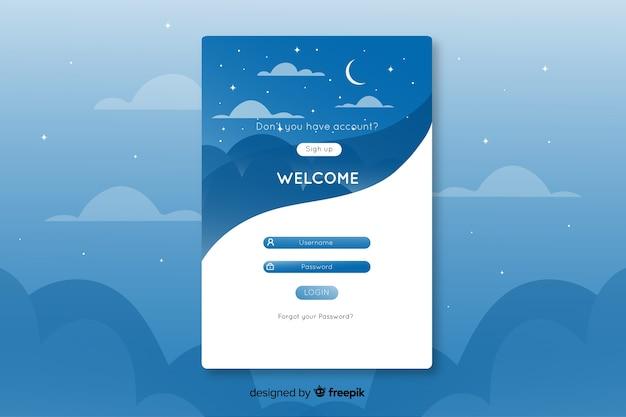 星空のあるランディングページのユニークなデザインログ 無料ベクター