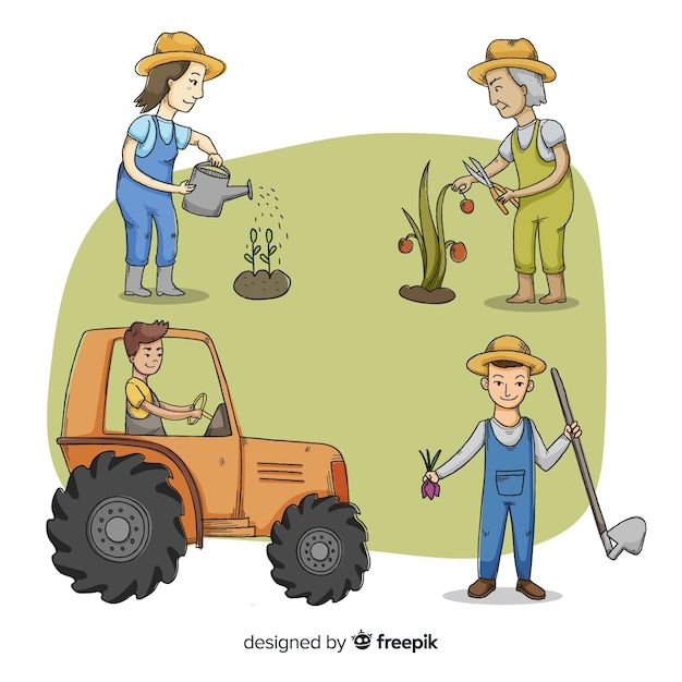 Иллюстрированная фермерская рабочая коллекция Бесплатные векторы