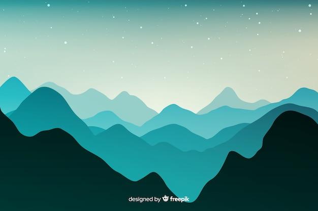 山の風景の青い色合い 無料ベクター