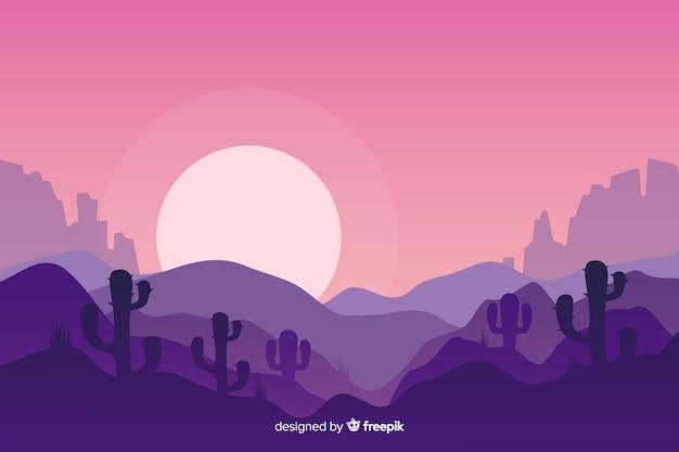 Пустынный пейзаж на восходе луны Бесплатные векторы