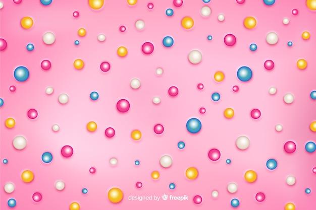 Сахарные пузырьки на вкусном розовом фоне пончика Бесплатные векторы