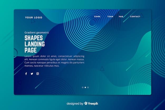 Градиентная синяя посадочная страница с исчезающими геометрическими фигурами Бесплатные векторы