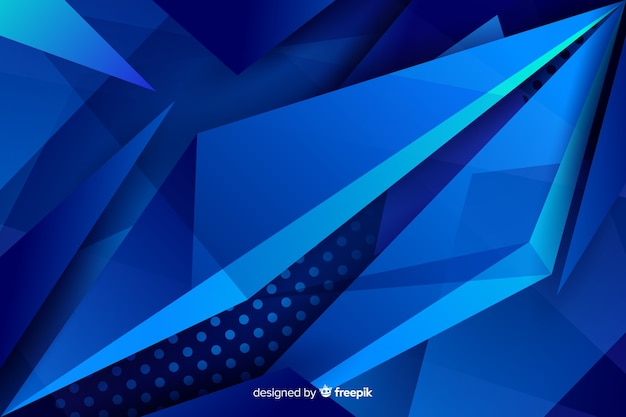 ドットの背景と対照的な青い図形 無料ベクター