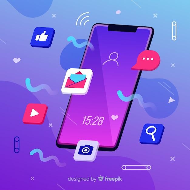 反重力携帯電話とソーシャルメディアの概念 無料ベクター