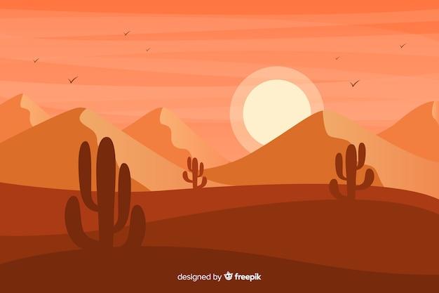 砂丘とサボテンの日没 無料ベクター