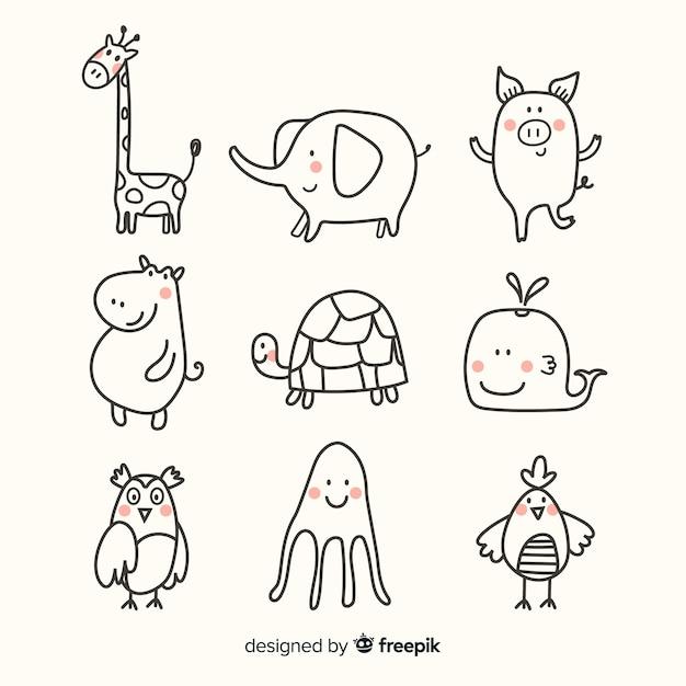 動物のかわいいコレクションフラットデザイン 無料ベクター