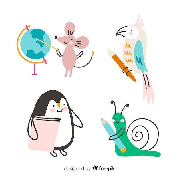Школьная коллекция животных Бесплатные векторы