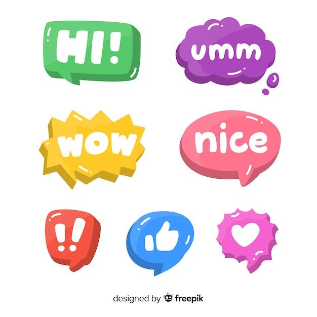 Пакет красочных речевых пузырей с разными выражениями Бесплатные векторы