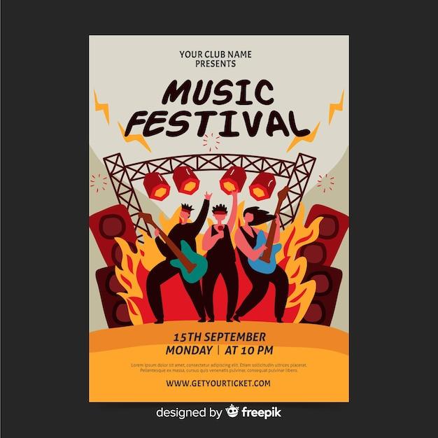 ロックフェスティバルの手描きポスター 無料ベクター