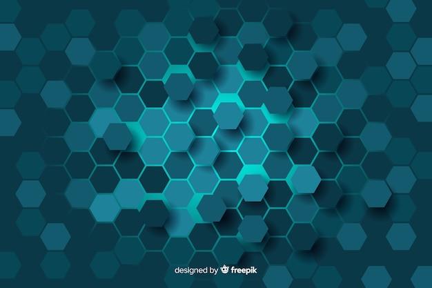 Синий сотовый фон цифровой цепи Бесплатные векторы