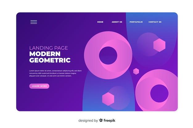 Градиентная посадочная страница с большими геометрическими фигурами Бесплатные векторы