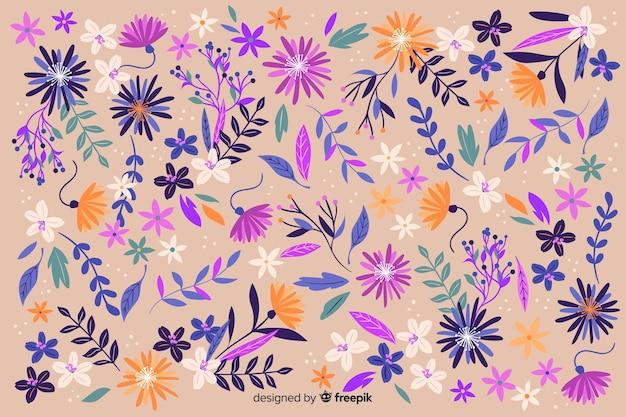 Плоский красивый цветочный фон Бесплатные векторы