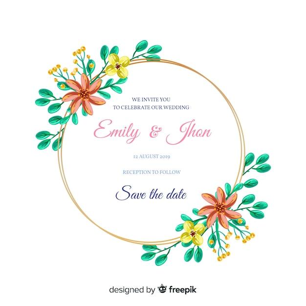 美しい手描きの花のフレームの結婚式の招待状 無料ベクター
