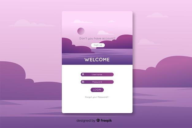 Войти на целевую страницу с фиолетовым пейзажем Бесплатные векторы