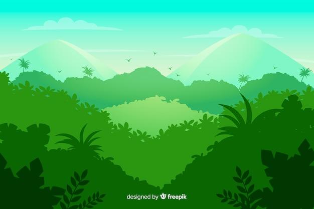 Зеленый тропический лесной пейзаж Бесплатные векторы
