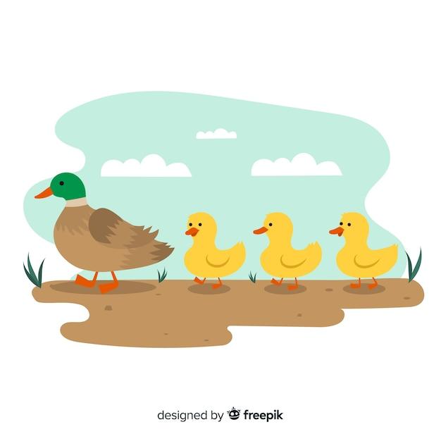 母鴨とアヒルの子とフラットなデザイン 無料ベクター