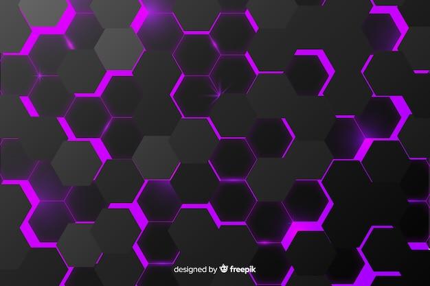 Абстрактный черный фон текстура шестиугольник Бесплатные векторы