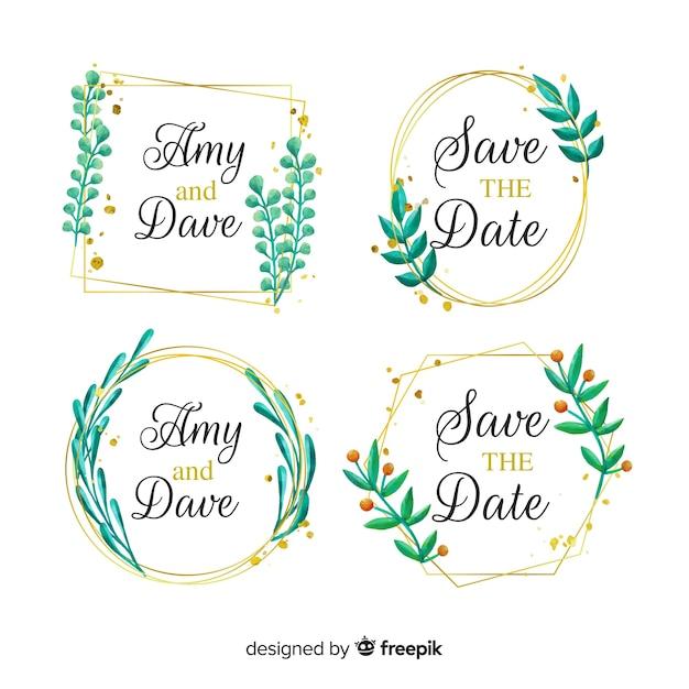 水彩結婚式フレームロゴコレクション 無料ベクター