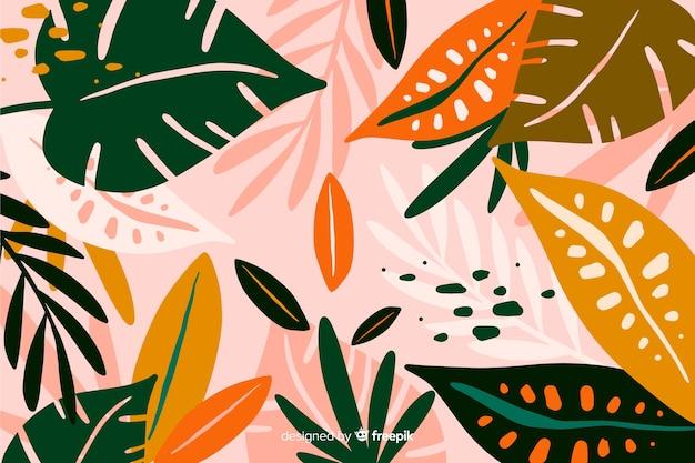 手描きのエキゾチックな花の背景 無料ベクター