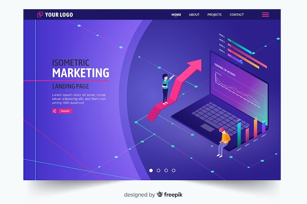 暗い紫色の等尺性マーケティングのランディングページ 無料ベクター