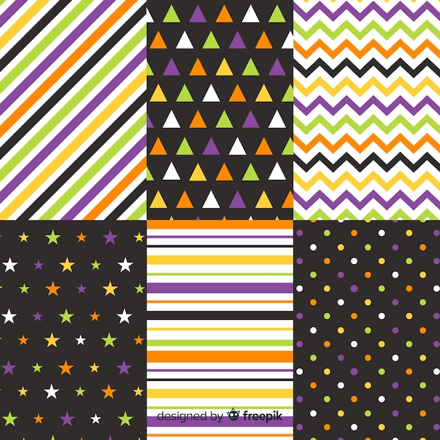 幾何学的なハロウィーンラインとドットコレクション 無料ベクター