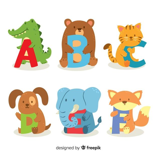 Симпатичные животные буквы плоский дизайн Бесплатные векторы