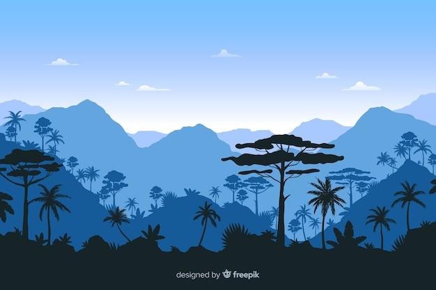 Тропический лесной пейзаж с синим фоном Бесплатные векторы