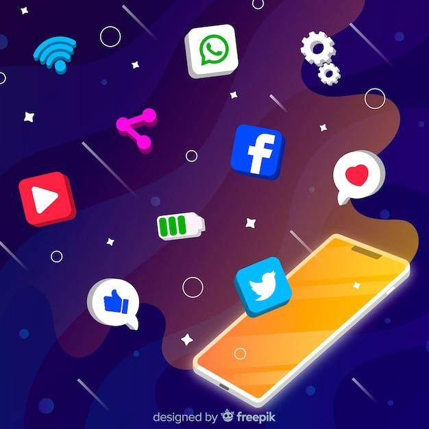 Антигравитационный мобильный телефон с иконками Бесплатные векторы