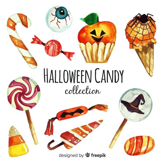 Акварель красочной коллекции конфет хэллоуин Бесплатные векторы