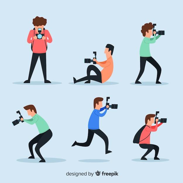 Иллюстрированные фотографы, делающие различные снимки Бесплатные векторы