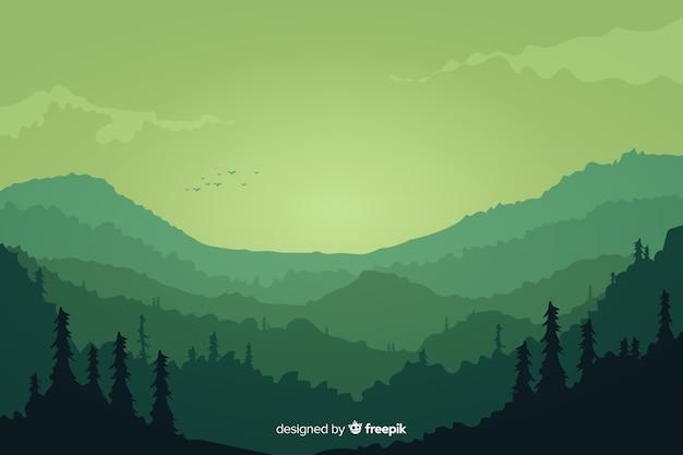 山の風景緑のグラデーション 無料ベクター