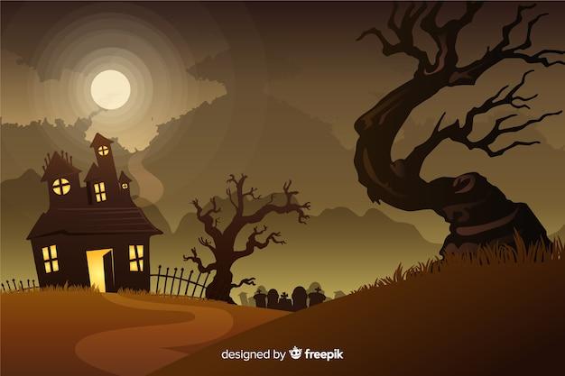 Реалистичная хэллоуин фон с конным домом Бесплатные векторы