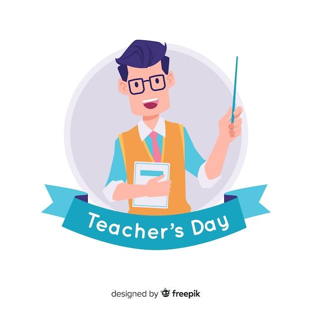 手描きの先生の日の背景 無料ベクター