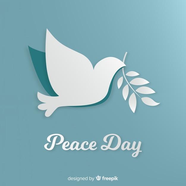 紙の鳩と平和の日の概念 無料ベクター