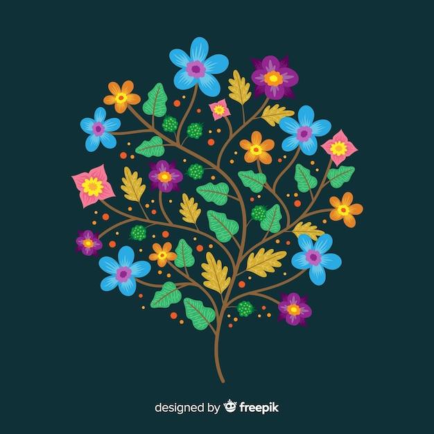 濃い緑色の背景にフラットカラフルな花の枝 無料ベクター