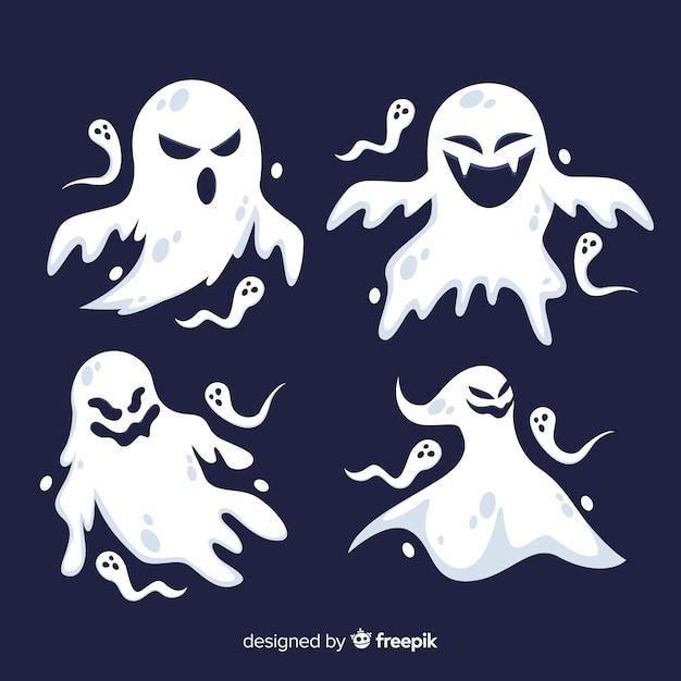 Плоский дизайн коллекции призраков хэллоуина Бесплатные векторы
